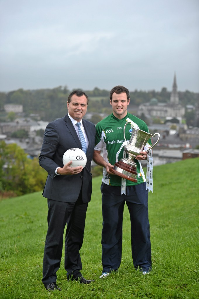 Ireland manager Paul Earley pictured with team captain Michael Murphy.