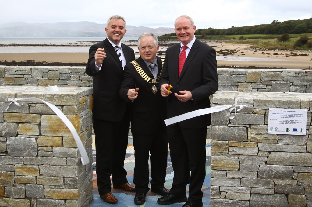 Mayor of Buncrana Peter McLaughlin opening the Amazing Grace viewing platform with Jonathan Bell and Martin McGuinness.