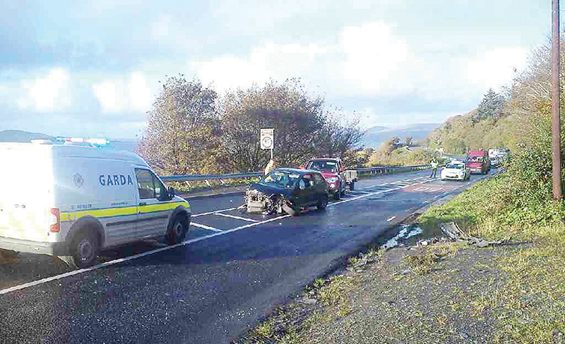The second of two road traffic collisions at 'The Lookout' corner in Fahan village on Tuesday afternoon. The bend has become an 'accident blackspot' in recent years, causing much concern locally.
