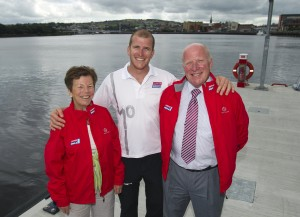 Buncrana Clipper Skipper Sean McCarter with his mother Anne McCarter & father Andy McCarter.  Picture: Liam McBurney/PA Wire