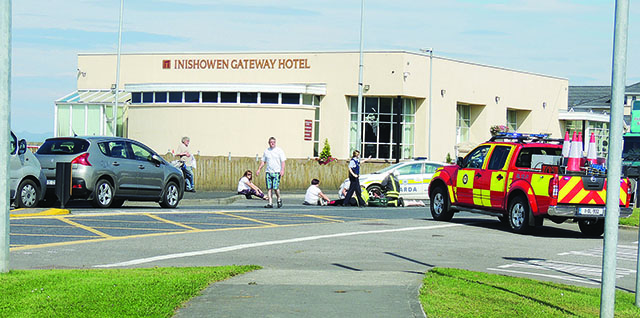 Emergency services at the scene in Buncrana yesterday morning.
