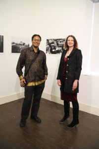 Artist Damaso Reyes pictured with curator Rebecca Strain at 'The Europeans' exhibition in Dunree