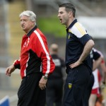 Brian McIver and Rory Gallagher call out instructions during the Donegal v Derry Ulster semi final.