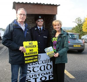 Gerry Kelly MLA and Martina Anderson MEP at the mock Customs post as part of the Anti Brexit Campaign at Bridgend