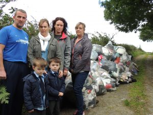 Bridgend residents and local children at the illegal dump site. Included are, Gavin Toland, Rosaleen Bradley, Marion McGee and Louise Hegarty.