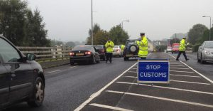 A VRT checkpoint in Muff in September. Customs seized a further fourteen vehicles in Donegal last week.