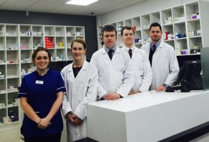 Staff members at Chemist Connect in Bridgend. Owner Feilim Henry, centre, says businesses on this side of the border remain competitive and quality-focussed despite the recent collapse in the value of Sterling.