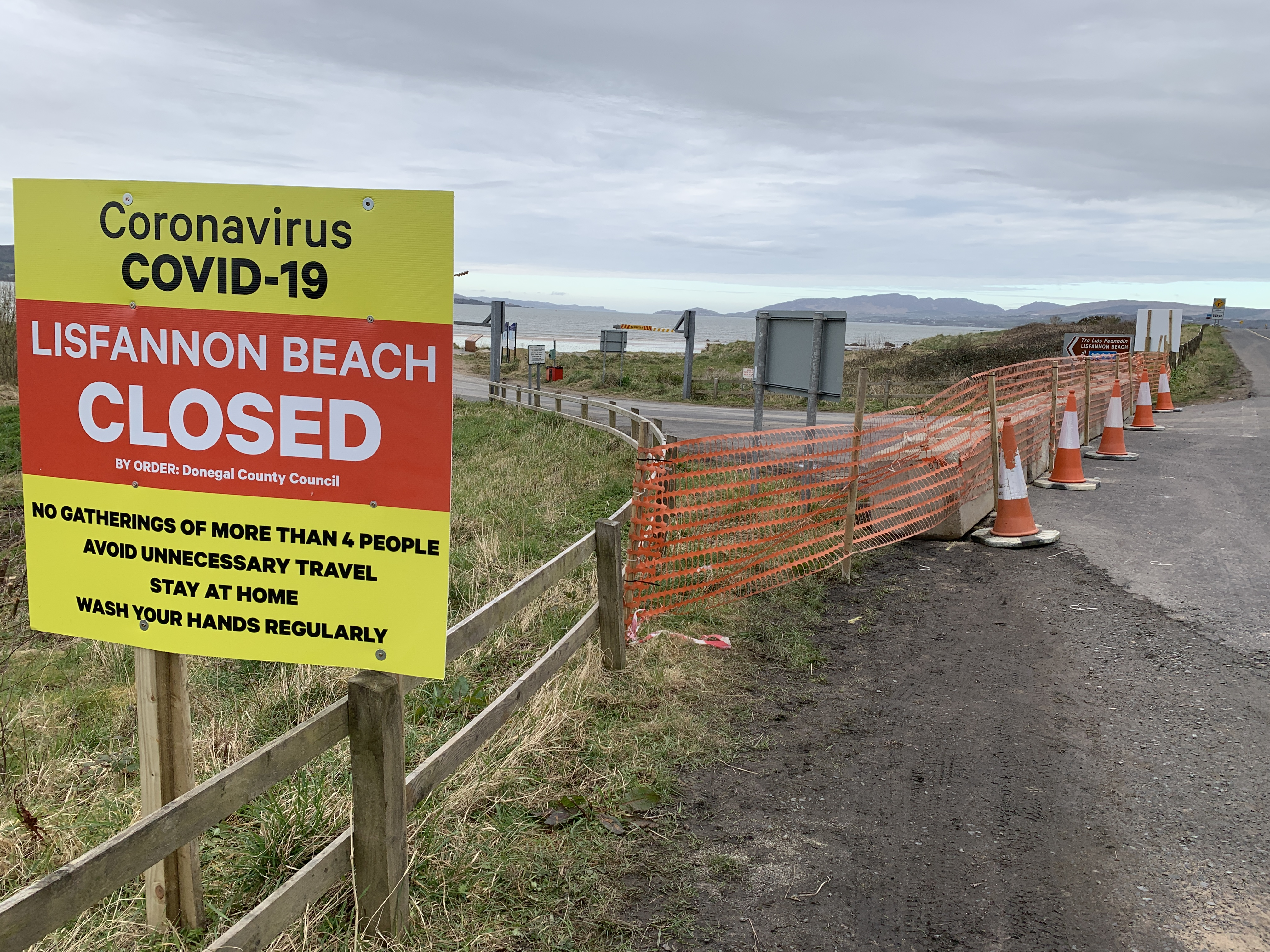 Lisfannon Beach at Fahan. Closed by order of Donegal County Council.