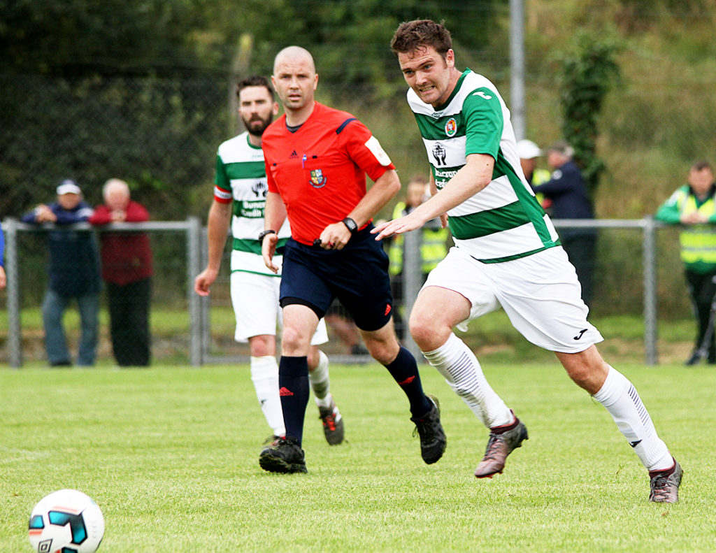 Gerard McLaughlin (Jazza) on the hunt for the free ball