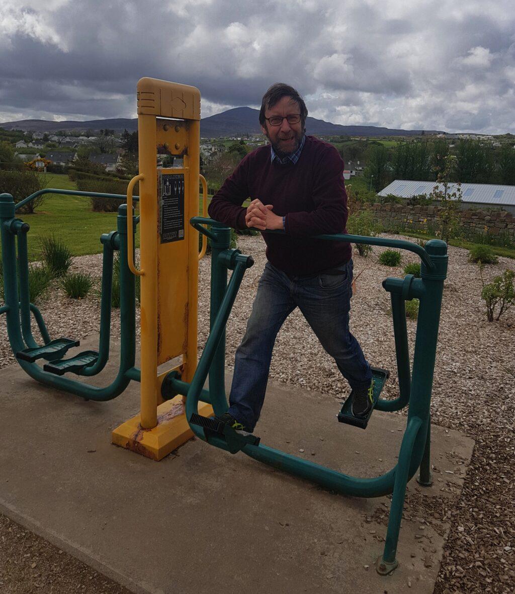Cllr Albert Doherty doing a spot of exercise at Carn's award-winning Barrack Hill Park.